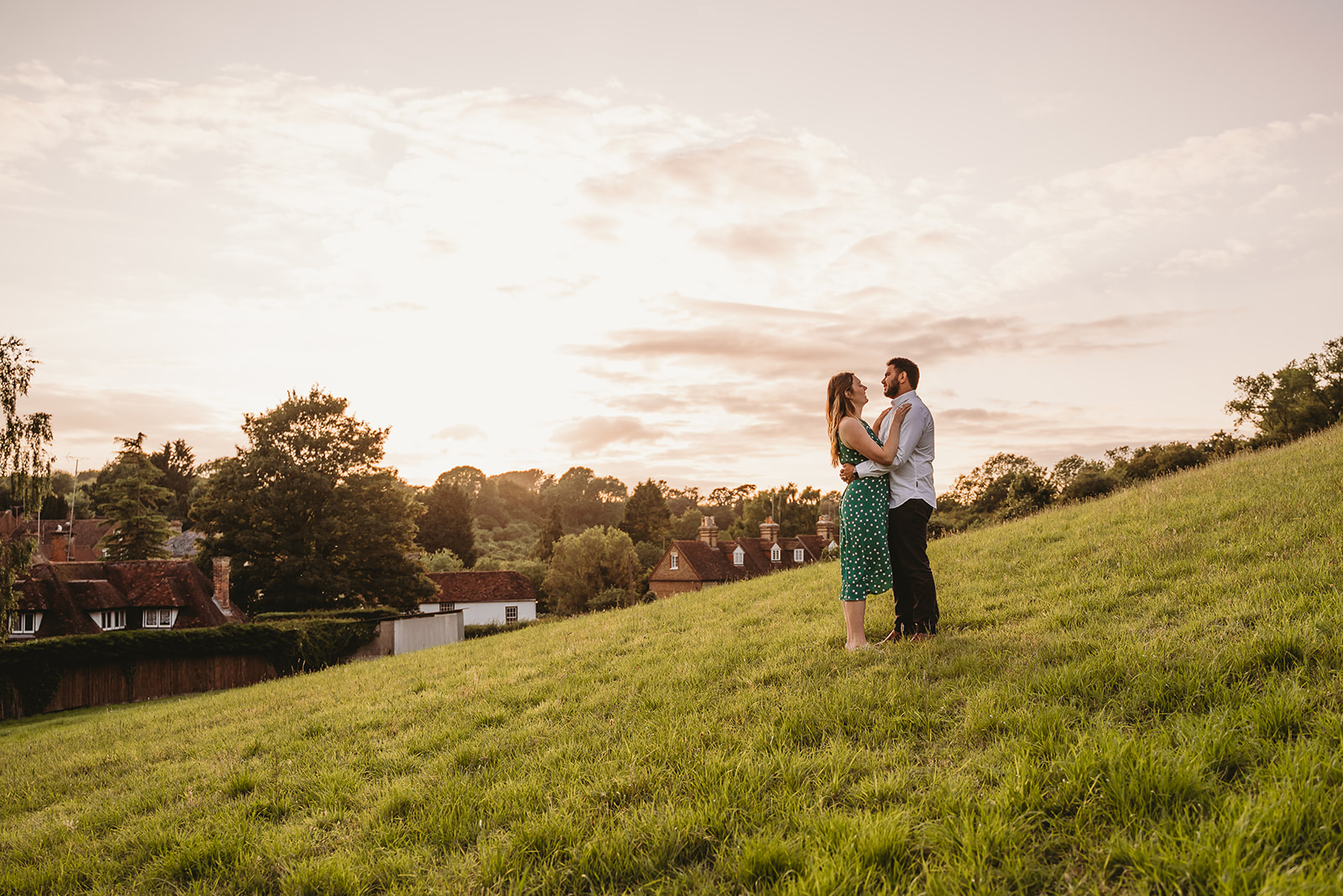 Couple photoshoot during golden hour, romantic photography in Kent countryside